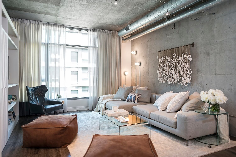 Дизайн зала в стиле лофт
