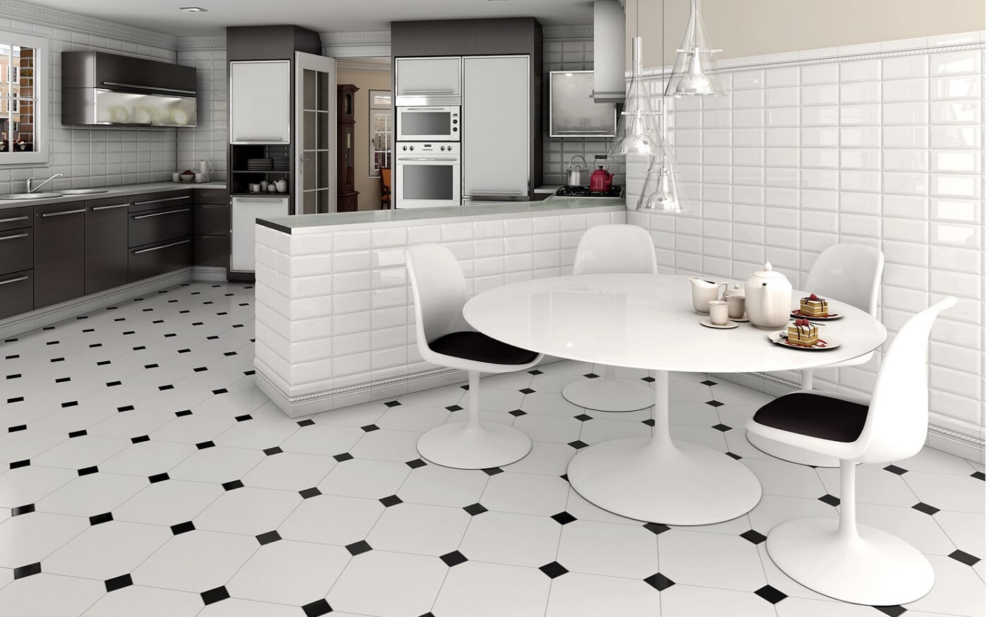 Black and white tiles for